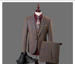terno dress 2019 - 3 Pcs Brown Plaid Suit Men Slim Fit 2018 Fashion Business Wedding Dress Suits for Men Terno Masculino Plus Size Suit CD3