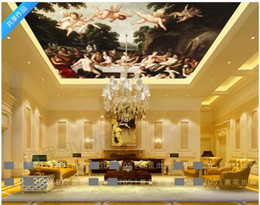 Custom Decor Silk Canada - Custom 3D Photo Ceiling Wallpaper Angel European Character Oil Painting Hotel Zenith Ceiling Mural Home Interior Decor Lobby Mural Wall