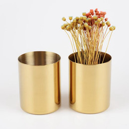 cylinder flower vase UK - 400ml Nordic style brass gold vase Stainless Steel Cylinder Pen Holder for Desk Organizers and Stand Multi Use Pencil Pot Holder Cup contain