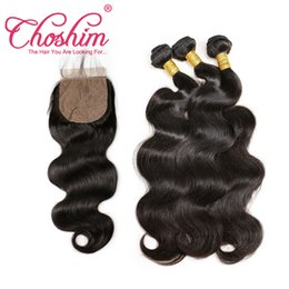 Silk Base Baby Hair Australia - Choshim Brazilian Body Wave Silk Base Closure With Bundles Remy Human Hair Silk Top Lace Closure Bleached Knots With Baby Hair