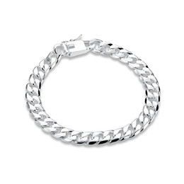 $enCountryForm.capitalKeyWord UK - Free shipping! 8MM square buckle side brace 925 silver bracelet JSPB227,Beast gift men and women sterling silver plated Chain link bracelets