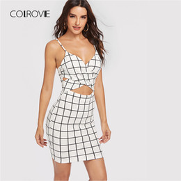 7669a1b282 COLROVIE Black And White Backless Cut Out Cross Wrap Front Grid Summer Dress  2018 Slim Sexy Women Dress Strap Bodycon