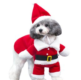 Dresses apparel online shopping - 5 Size Christmas dog costum transformed stand santa suit fashion Euramerican pet clothes creative pets apparel cotton dog sweater