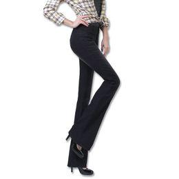 WZJHZ 2018 New Autumn Flare Jeans de cintura alta Pantalones Tamaño 25-32  Stretch Skinny Jeans Mujeres Pierna ancha Slim Hip Denim Boot Cuts 9e5864d58bc3
