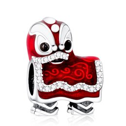 lion charms for bracelets UK - Valentines Chinese Lion Dance Charms Bead 925 Sterling Silver Enamel Animal Beads For Jewelry Making DIY Bracelets Accessories HB716