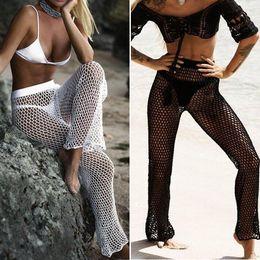 c50edc5a97 Knitted Hollow-Out Beach Fishing Net Pants Women Hand Crochet Beach Long Sunscreen  Trousers sexy bikini Swimsuit