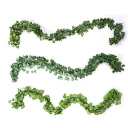 Fake vine Foliage online shopping - 12Pcs Long Artificial Plants Green Ivy Leaves Artificial Climbing Tiger Grape Vine Fake Foliage Leaves Wedding Home Decor