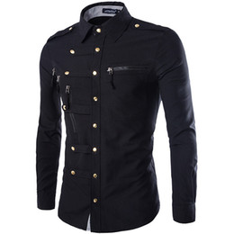 0e7c1858f0b4 New Arrival Spring Autumn Men Long Sleeve Cargo Shirt Casual Slim Fit  Fashion Epaulet Double Pocket Mens Dress Shirt M L XL XXL Y1892101