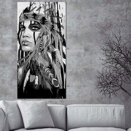 Black White Canvas Wall Prints NZ - 1 Piece White and Black Native American Indian Girl Feathered Canvas Painting Posters And Prints Nordic Wall Picture No Framed