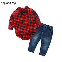 Chinese  2018 Fashion Baby Boy Clothes Sets Gentleman rompers +pants Suit Long Sleeve Kids Boy Clothing Set kids clothes manufacturers