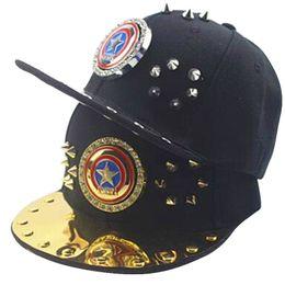 Fashion Western Cool Rivet Children Snapback Caps Hip-Hop Adjustable  Baseball Cap Flat Along Hats 48-53CM 2e929f776cca