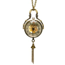 Jade Dresses Australia - Small Cute Special Bell Design Mechanical Wind Up Pocket Watch with Chain Necklace Hot Selling Men Women Fashion Dress Jewelry