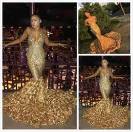Discount low back halter evening gown - Gold Prom Dresses Deep V Neck Sexy With Rose Train Low Back Mermaid Evening Gowns Count Train African Vestidos Party Dre