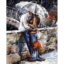 $enCountryForm.capitalKeyWord NZ - DIY paint kit 50*40 cm painting materials by numbers classical kiss in rain wall decor freeshipping gift friend family linen cloth brushes