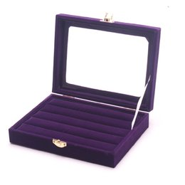 Ring Case Holder Displays Australia - Fashion Purple Color Jewelry Display Ring Box Ring Holder Rings Organizer Showcase Earring Case Stud Earrings Display Box Stand