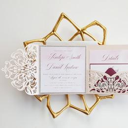Discount laser cut birthday cards - Shimmy Blush Pink Spring Flower Glitter Laser Cut Pocket Weddint Invitation with RSVP Card Trifold Anniversary Invites F