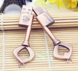 Key Memory Flash Drive Australia - 2018 metal heart key usb flash drive copper love pendrive 4gb 8gb 16gb 32gb pen memory stick U disk fashion gift