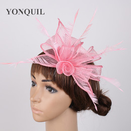2018 Beautiful hair DIY rose sinamay fascinators pink hat for elegant women wedding  party occasion headwear with fancy feathers SYF230 84c2b0667f33