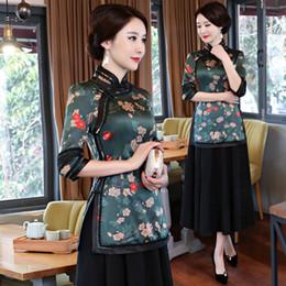 3550b8cfbfe New Summer Womens Blouse Skirt Sets Traditional Chinese 2pc Short Sleeve  Shirt Mandarin Collar Cheongsam Dress Size S-XXXL 9963
