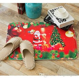 Bathroom Christmas Decor Australia - New 40*60cm Christmas Mat HD Printed Non-Slip kitchen Bath Mat Absorbent Waterproof Home Decor 6 Styles wn595