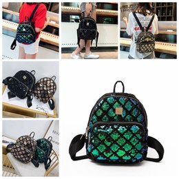 CheCkered baCkpaCks online shopping - Sequin Checkered Mini Backpacks Colors Sequins Travel Satchel School Bag BlingBling Teenager Girls Backpack Outdoor Bags OOA5417