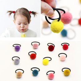 $enCountryForm.capitalKeyWord Australia - 100Pcs Colorful Children Kids Hair Holders Cute Rubber Hair Band Elastics Accessories Girl baby Charms Tie Gum Pum pum Ball Hair ties 179