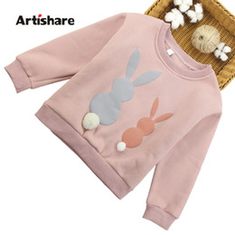 Cartoon Rabbit Hoodies Australia - Hoodies For Girls Cotton Padded Girls Sweatshirt Hoodies Cartoon Rabbit T Shirt Children Teenage Kids Sweatshirt 6 8 10 12 13 14