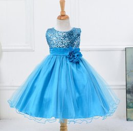 $enCountryForm.capitalKeyWord Australia - Fashion Sequins Mesh Tutu Sash Flower Girl Wedding Princess Dresses Kids Clothes Children Clothing Party Dress Blue Black 10 colors