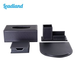 Wholesale Modern Style Office Desktop Stationery Organizer Set Include Tissue Case Pen Holder Mouse Pad and Memo Box T11