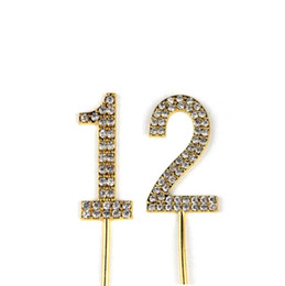 Wedding Anniversary Cupcakes Australia - Number 12 Cake Topper 12th Baby Birthday Wedding Anniversary Cupcake Topper Gold Alloy Meta with Glitter Crystals Cake Decoratio1