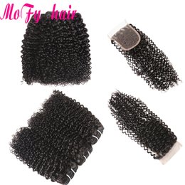 $enCountryForm.capitalKeyWord Australia - Mofy Afro Kinky Curly Weave Human Hair Bundles with Lace Closure Non-remy Brazilian Hair Weave 3 Bundles with Closure Free Part Closure