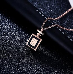 Perfumes Gift Australia - Creative Number 5 Perfume Bottle Pendant Necklace 18K Rose Gold Titanium Clavicle Chain For Women Girl Party Prom Jewelry Gift