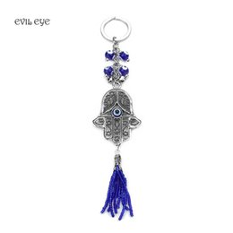 hand blue eye pendant 2019 - Evil Eye New Fashion Jewelry Evil Eye Key Chain Wall Hanging Pendant Blue Amulet Kabbalah Hand Fatima Glass Key Ring dis