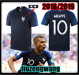 World Cup Team Shirts Canada - 2 stars 2018 Mbappe jerseys Short sleeve 18 19 World Cup POGBA GRIEZMANN PAYET KANTE National Team shirts Size:S-XL