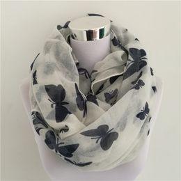 Cotton Viscose Scarves Australia - New Women Fashion Viscose Cotton Butterfly Print infinity scarf Fashion Animal Scarves Shawl hot sale neckerchief