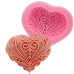 Chinese  Wedding Love Heart Shape Silicone Mold Cake Decoration tools baking Fondant Mould handmade soap mold F0733 manufacturers