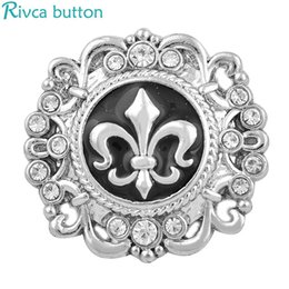$enCountryForm.capitalKeyWord Australia - Rivca Snap Button Jewelry Newest DIY 18mm Mixcolour snow flower Snap Button Fit Charm leather alloy fashion Bracelet jewelery