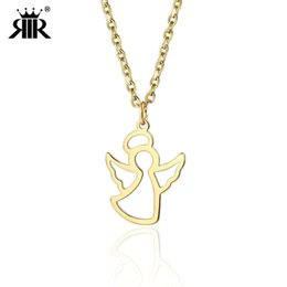 gold fairy pendant 2019 - RIR Women Gold Angel Medallion Necklace Minimalist Guardian Little Fairy Angel Pendant Necklaces Jewelry In Stainless St