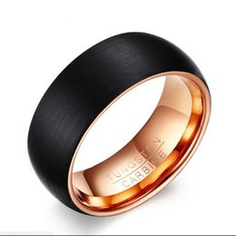 $enCountryForm.capitalKeyWord UK - ZHF Jewelry Eejart Black Men's Tungsten Ring 8MM Inner Rose Gold Color Rings Men Tungsten Jewelry