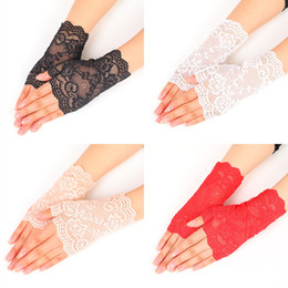 Wholesale black red white costume resale online - Lace Fingerless Gloves Black Red White Apricot Ladies Fingerless Sport Gloves Dance Gloves Cosplay Accessory Party