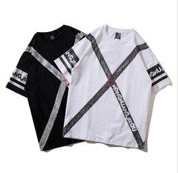 $enCountryForm.capitalKeyWord NZ - European American hip hop original trend dark black high street ribbon printing lovers kanye west spring and summer 2018 new men t shirts