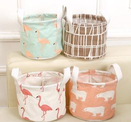 $enCountryForm.capitalKeyWord Canada - 6 Styles Round Flamingo Cotton Linen Desktop Storage Box Sundries Storage Organizer Stationery Cosmetic Storage Basket SN1010