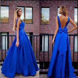 $enCountryForm.capitalKeyWord Canada - A Line Bow Open Back Ruffle Floor Length Sleeves Royal Blue Sexy Beautiful Custom Made Evening Dress Prom Dress