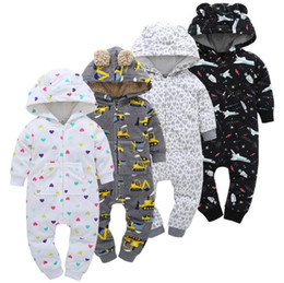 Toddlers onesies long sleeve online shopping - 19 Styles Baby Clothing Toddler Fleece Rompers Newborn Winter Onesies Hooded Rompers Cartoon Jumpsuits Kids Cotton Bodysuits CCA8724