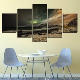 Art Canvas Prints Australia - Home Decor 5 Pieces Aurora Night Seascape Painting Modular HD Prints Poster Canvas Wall Art Pictures For Living Room Framework