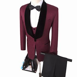 hot man wear tuxedo NZ - Hot sale Groomsman Suit Tailor Suits Blazer 4 color Groom Tuxedos Printed Jacket for man Clothes Custom Made Man Suit (Jacket+pants+vest)