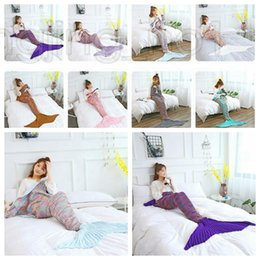 Discount car sofa couch - 180*90CM Fashion Adult Mermaid Tail Quilt Blanket Knitted Crochet Wrap Costumes For Sofa Couch Bed Car DDA617