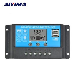 Solar Panel Charge Usb NZ - Batteries Cells, Solar Panel AIYIMA 15A 12 24V Auto Solar Charge Controller Regulator Controller PWM With LCD 5V Dual USB For