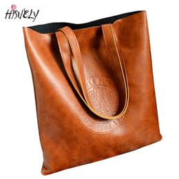 Ladies Cross Body Handbags Wholesale NZ - HISUELY Fashion Women Handbags Bucket Embossed Letters Shoulder Bags Ladies Cross Body Bags Large Capacity Ladies Shopping Bag