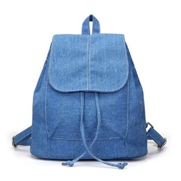 079648077ad9 Discount female backpack preppy style - high quality New Denim Canvas Women  Backpack Mochilas Feminina Drawstring